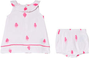 Billieblush White and Pink Diamond Print Cotton Dress and Bloomers Set
