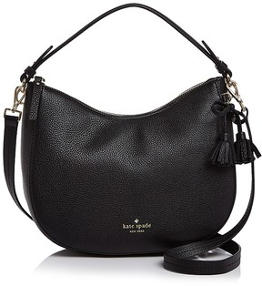Kate Spade Hayes Street Aiden Small Leather Hobo - BLACK/LIGHT GOLD - STYLE