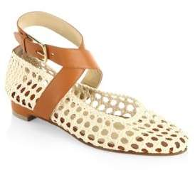 Paul Andrew Dagmar Woven Leather Ankle-Wrap Flats