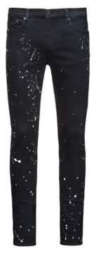 HUGO Boss Paint-Splattered Cotton Jean, Skinny Fit 734 30/34 Black