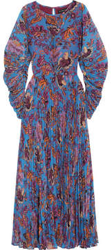 Etro Printed Plissé-georgette Maxi Dress - Blue