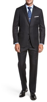 Hickey Freeman Men's Classic B Fit Solid Wool & Cashmere Suit
