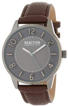 Kenneth Cole Reaction Men's 3 Hand Analog Leather Strap Watch, 46mm