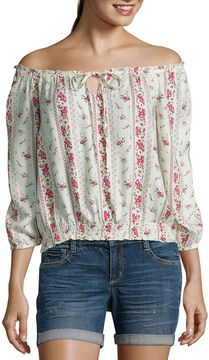 Arizona Long Sleeve Crepe Floral Blouse-Juniors