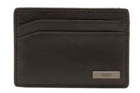 HUGO BOSS Men's Element_S Smooth Black Leather Card Wallet