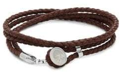 Tateossian Silver and Leather Double Wrap Bracelet
