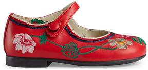 Gucci Toddler embroidered leather ballet flat