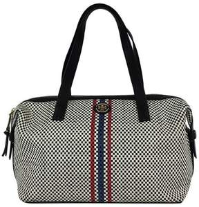 Tory Burch Black, White & Red & Blue Checkered Leather Bag - BLACK - STYLE