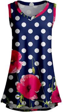 Lily Blue Floral Dot Sleeveless Tunic - Women & Plus