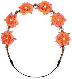 Carole Coral Flower & Crystal Headwrap