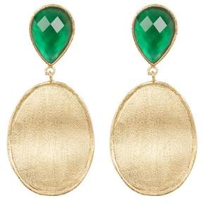 Rivka Friedman 18K Gold Clad Faceted Emerald Crystal Mother of Pearl Doublet & Satin Wavy Oval Drop Earrings