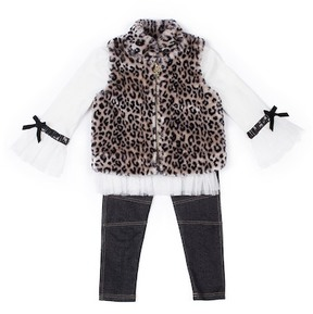 Nicole Miller Tulle Trim Top, Leopard Print Faux Fur Vest & Legging Set (Little Girls)
