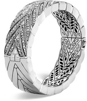 John Hardy Sterling Silver Modern Chain Large Hinged Bangle with Diamonds