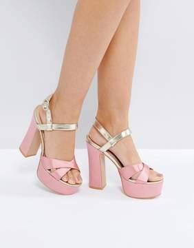 Public Desire Vamp Pink and Gold Platform Heeled Sandals