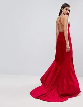 Asos RED CARPET Velvet Deep Plunge Strappy Maxi Dress