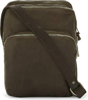Guidi Three-pocket horse leather messenger bag