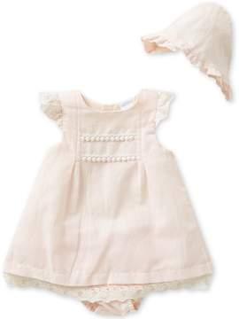 Edgehill Collection Baby Girls Newborn-6 Months Dress, Panty, and Bonnet Set