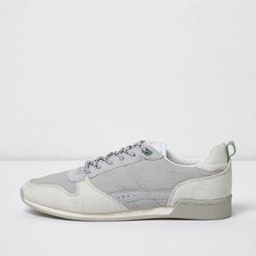 River Island Mens White retro runner sneakers