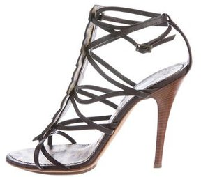 Roberto Cavalli Alligator Peep-Toe Sandals