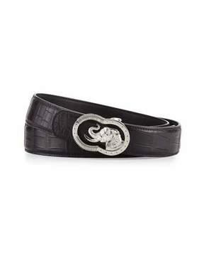 Stefano Ricci Crocodile Belt with Silvertone Elephant Buckle, Black
