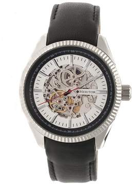 Heritor Desmond Silver Skeleton Dial Black Padded Leather Strap Automatic Men's Watch