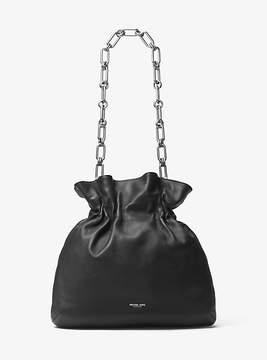 Michael Kors Lenox Leather Chain Hobo - BLACK - STYLE