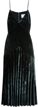 Dion Lee Pleated Velvet Midi Dress - Emerald