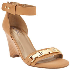 Me Too As Is Ankle Strap Wedges with Metal Detail - Beverly