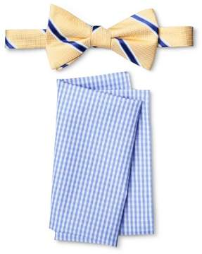 Merona Men's Bow Tie And Pocket Square Set Yellow/Blue