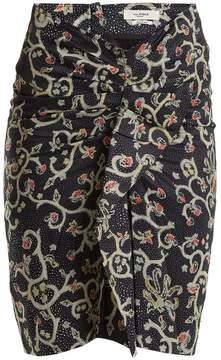 Etoile Isabel Marant Caja floral-print ruched skirt