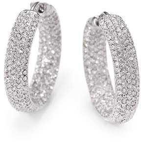 Adriana Orsini Women's Pavé Crystal Rhodium-Plated Inside-Outside Hoop Earrings
