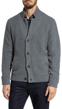 Luciano Barbera Men's Herringbone Wool & Cashmere Cardigan