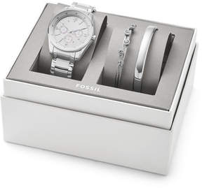 Fossil Justine Chronograph Stainless Steel Watch and Jewelry Gift Set