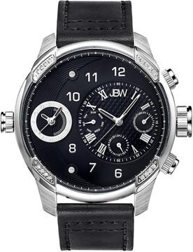 JBW G3 Stainless Steel Diamond Case Black Leather Strap Men's Watch