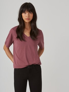 Frank and Oak Fluid V-Neck Tee in Washed Rose Taupe