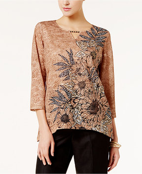 Alfred Dunner Jungle Love Embellished Asymmetrical Top