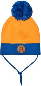 Mini Rodini Orange and Blue Pom Pom Hat