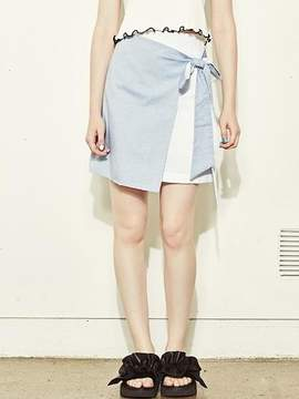 Blank Knot Skirt-wh