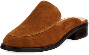 Neiman Marcus Ailey Suede Slide Loafer Mule, Brown