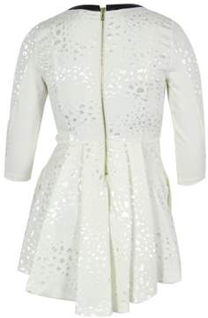 GUESS Women's 3/4 Sleeves Jacquard Flare Dress (L, Scuffy)