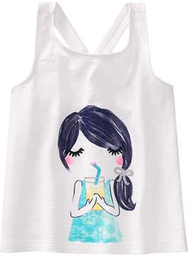 Gymboree White & Turquoise Girl With Lemonade Knot-Back Tank - Infant, Toddler & Girls