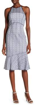 Tahari Novelty Halter Lace Midi Dress