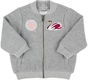 Stella McCartney KIDS' DUSTY SWAN-EMBROIDERED FLANNEL BOMBER JACKET