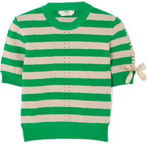 Fendi Lace-up Striped Pointelle-knit Top - Bright green