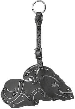 Valentino Leather Key Chain with Rockstuds