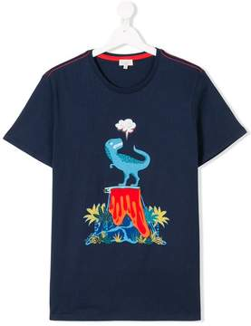 Paul Smith TEEN dinosaur zip volcano print T-shirt
