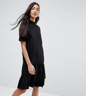 Noisy May Tall Asymmetric Sweat Dress With Ruffle Trim