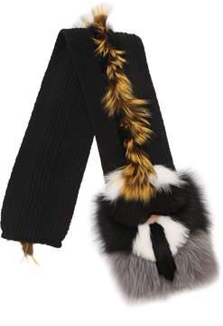 Karlito Wool Blend Knit & Fur Scarf