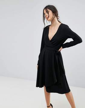 Yumi Long Sleeve Belted Wrap Dress