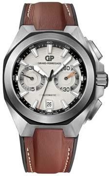 Girard Perregaux Chrono Hawk Silver Dial Brown Leather Automatic Men's Watch